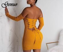 2019 Sexy knitted off shoulder bodycon dress Women backless lace up mini dress elegant Female summer party club dress vestido