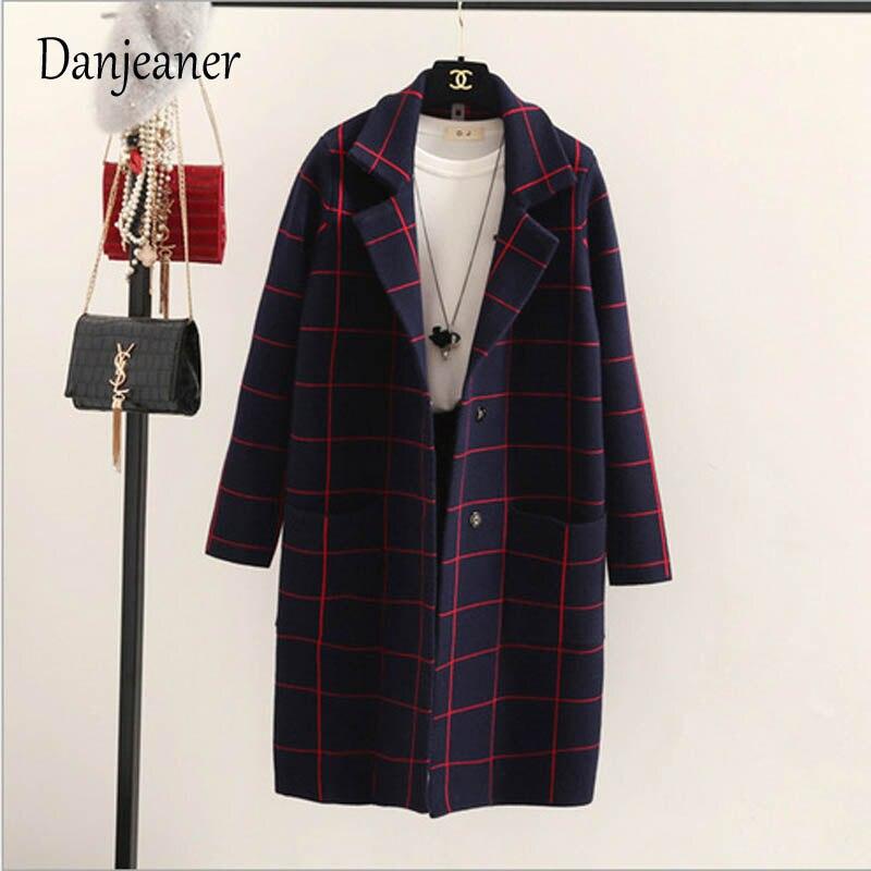 Danjeaner primavera otoño mujeres lana Trench coreano moda larga lana abrigo solo Breasted Delgado mujer Otoño Invierno lana abrigos - 3