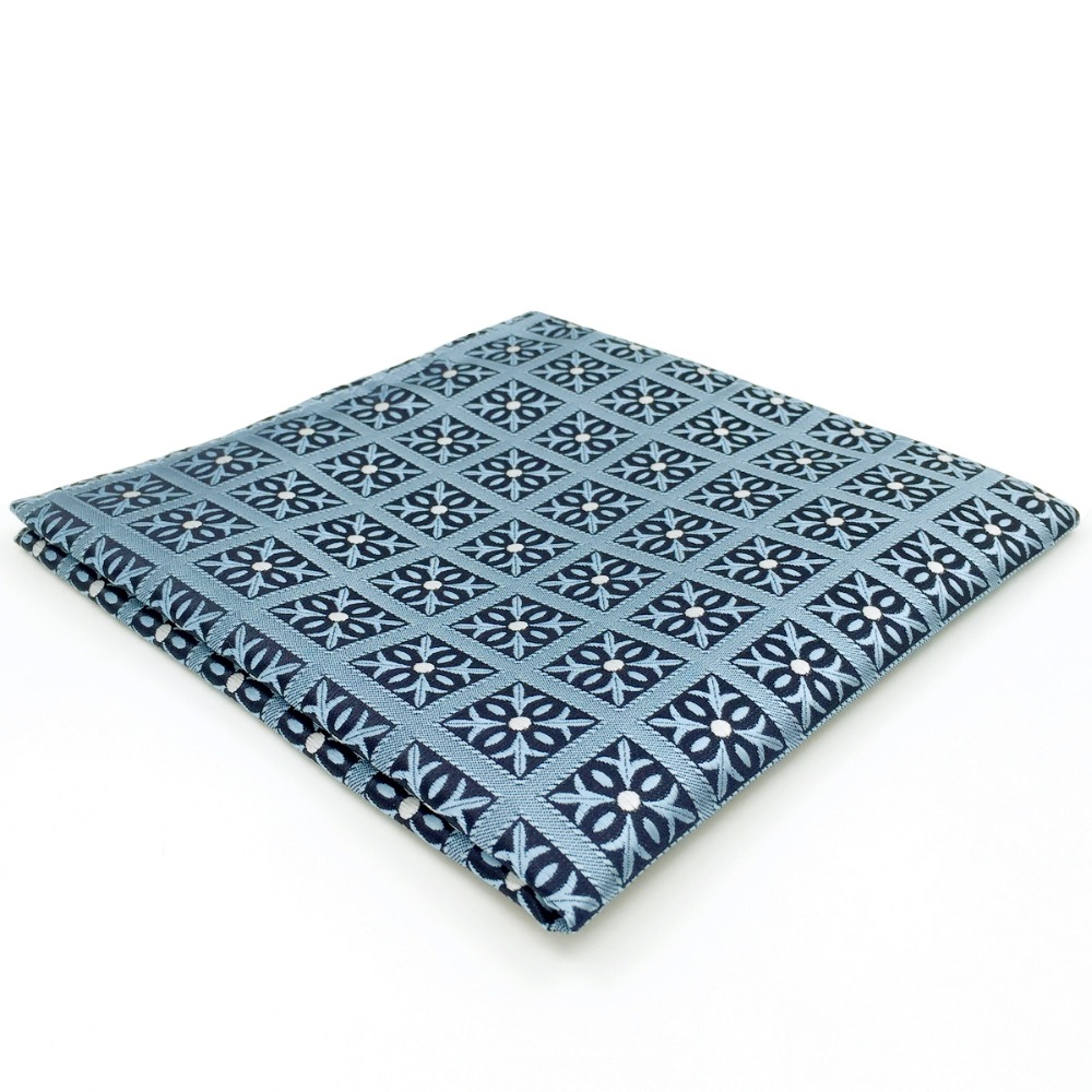 EH3 Blue Checkes Pocket Square Fashion Classic Handkerchief Hanky