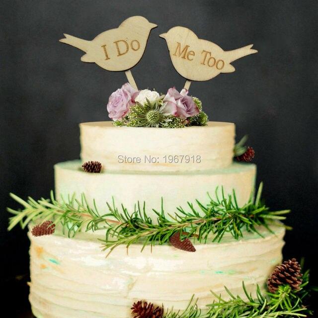 Rustikale Holzerne Liebe Vogel Design Hochzeitstorte Topper