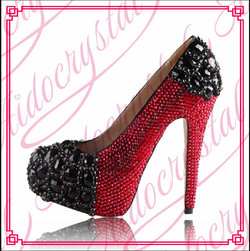 Aidocrystal low MOQ OEM customized designer red crystal high heel shoes for woman free shipping free shipping no 40 3 red color fo shoes and bag set new summer women s shoes low heel shoes crystal high heel shoes
