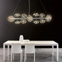 Nordic Creative Fishing Line LED Chandelier Minimalist Art Design Bar Lamp Dandelion Spiral Restaurant Crystal Lighting