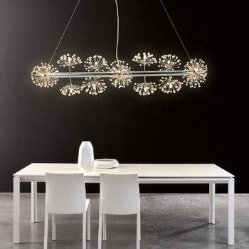 Nordic kreative angelschnur led kronleuchter minimalistischen kunst design bar lampe löwenzahn spirale restaurant kristall leuchte