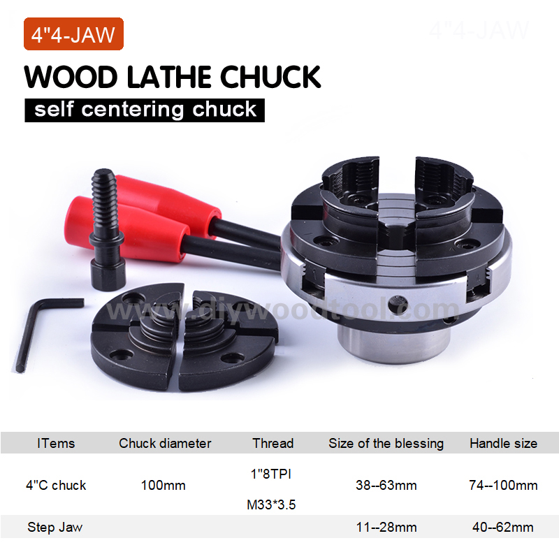4 Inch Wood Lathe Chuck 100mm 4-jaw Self Centering Wood Turning Chuck Mini Lathe Woodworking Chucks Machine Tool Accessories