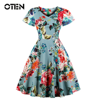 OTEN 2018 New Fashion Summer Women Short Sleeve V Neck elegant plus size Flower Printed Vintage Rockabilly Pin up Skater dress