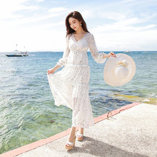 Dabuwawa New Spring Print Dress Women Ladies White V-Neck Maxi  Flare Sleeve Ankle-length Ruffles Chiffon D18CDR099