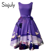 Sisjuly Women's Vintage Dress Audrey Hepburn Sleeveless Backless Print 2017 Women Summer Retro Dress Vestidos  Women's Clothing