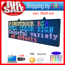 Open Close LED SIGN 39 X14 Programmable Scrolling Full Color Message Board
