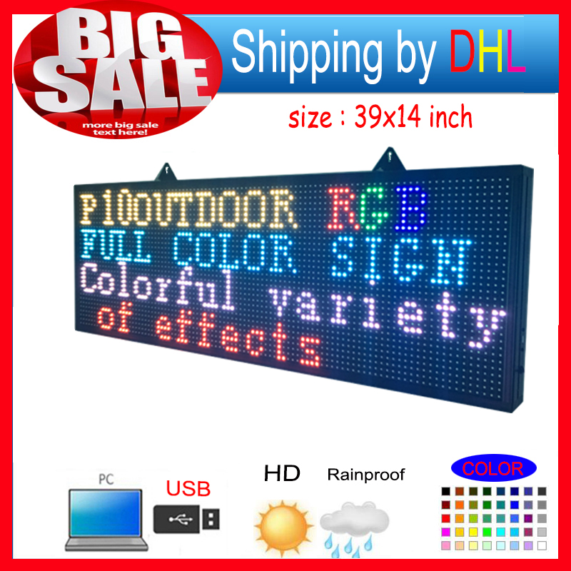 Open Close LED SIGN 39X14 Programmable Scrolling Full Color Message Board