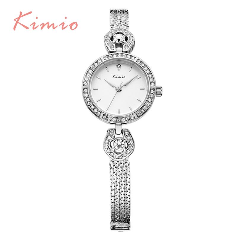 Prix pour KIMIO Top Qualité Cristal de Diamant Dames Montres 2016 Nouveau Design Femmes Horloge De Luxe Célèbre Marque Argent Femelle Montre-Bracelet