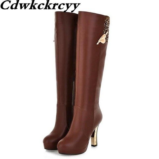 Зимние новые модные водонепроницаемые высокие сапоги в Корейском стиле с узором женские ботинки со стразами на очень высоком каблуке с боковой молнией; размеры 34-40