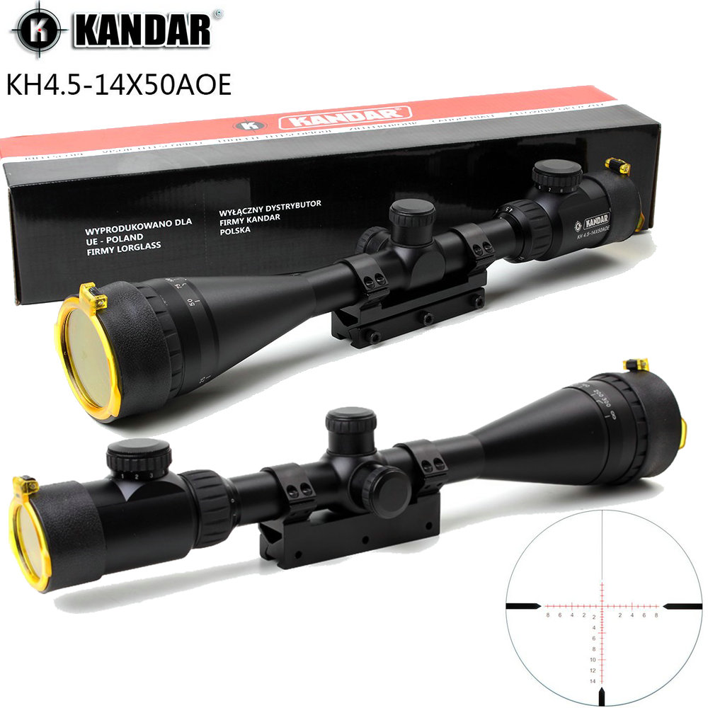 KANDAR 4.5-14x50 AOE Hunting Riflescope Red Special Cross Reticle Sniper Optic Scope Sight FOR Rifle One Piece 11mm or 20mm Ring kandar 4 5 14x50 hunting riflescope red special cross glass reticle sniper optic scope sight for rifle with 11mm or 20mm mount