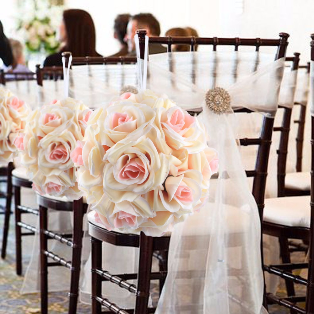 OurWarm 1pc espuma de seda Artificial rosa bolas de flores para bodas - Para fiestas y celebraciones