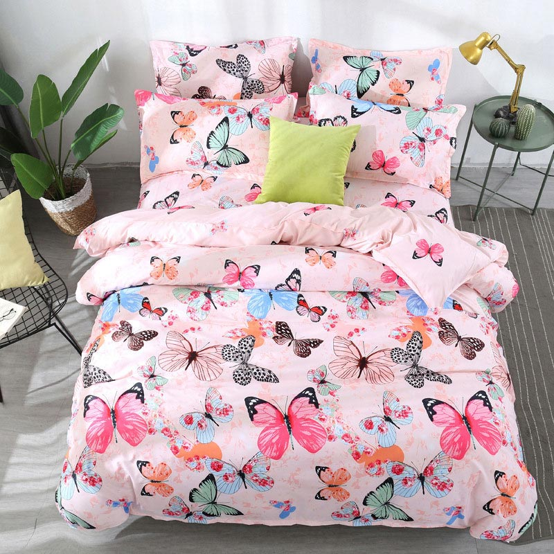 Butterfly 4pcs Kid Bed Cover Set Cartoon Duvet Cover Adult Child Bed Sheets And Pillowcases Comforter Bedding Set 2TJ-61003