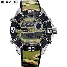 BOAMIGO moda hombre de doble pantalla relojes rubber band hombre reloj hombre militar de cuarzo analógico digital relojes de pulsera a prueba de agua