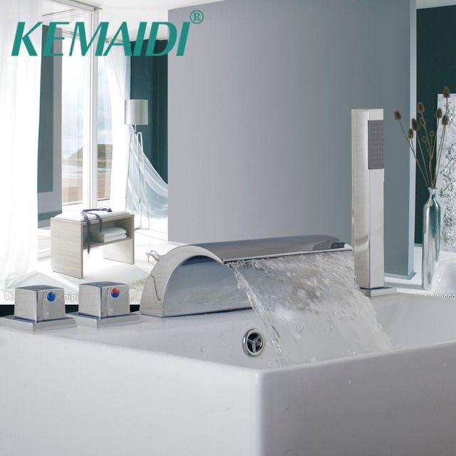 KEMAIDI New Luxury Deck Mounted Chrome Waterfall Bathroom Tub Faucet ...