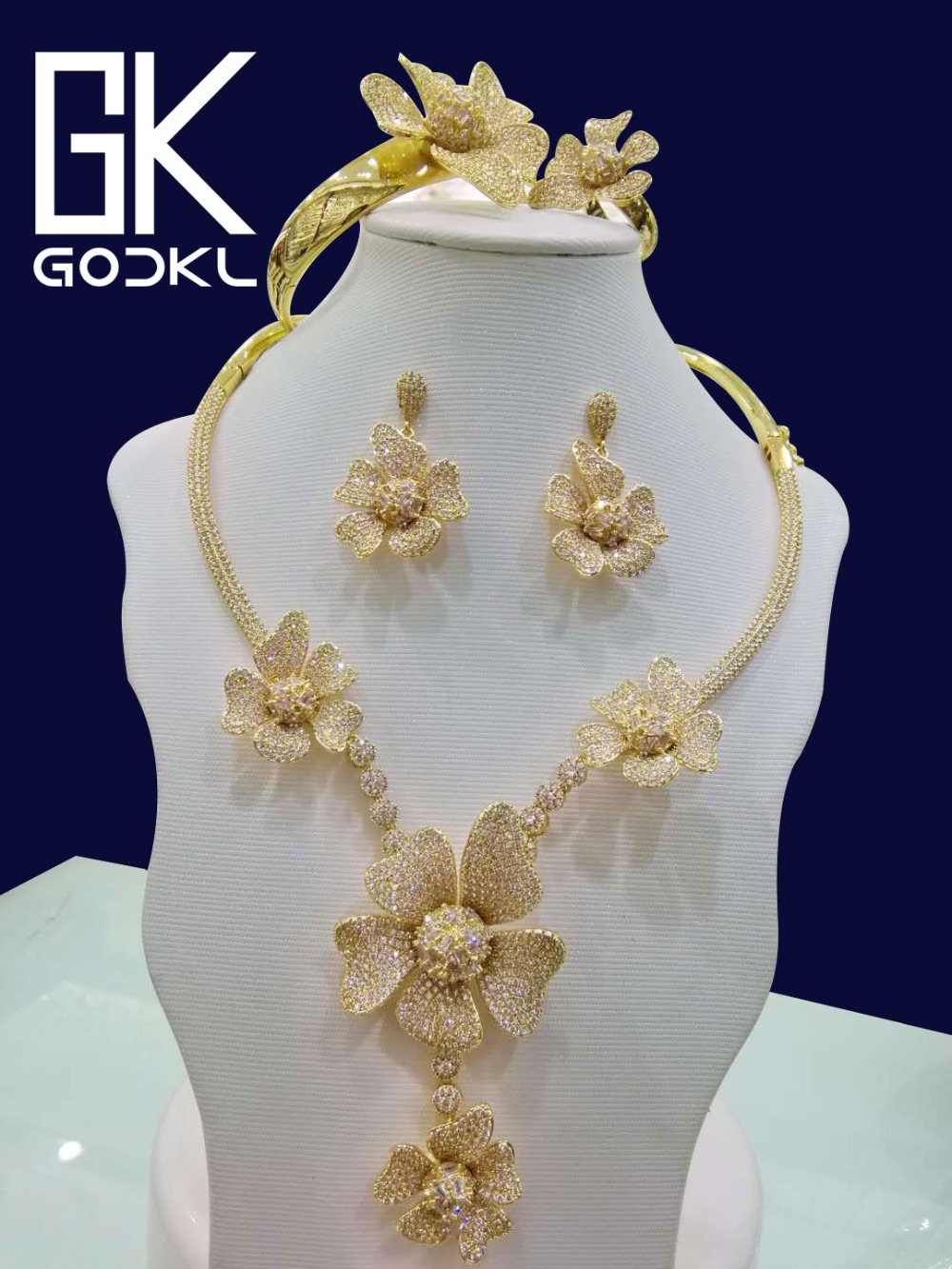 GODKI Luxury DUBAI GOLD Jewelry sets For Women Wedding Cubic Zirconia Flower African Jewelry Sets Nigerian