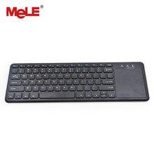 Teclado sem fio mini touchpad mouse mele wk400 2.4ghz qwerty inglês layout para android caixa de tv windows mini pc mac