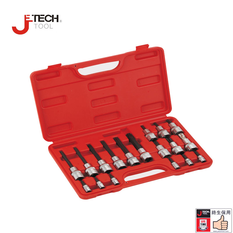 Jetech 18-piece 1/2 drive 6 point tamper proof security star torx bit socket wrench set chrome vanadium steel garage car tools mainpoint 1 4 1 2 3 8 e socket sockets set cr v torx star bit combination drive socket nuts set for auto car repair hand tool