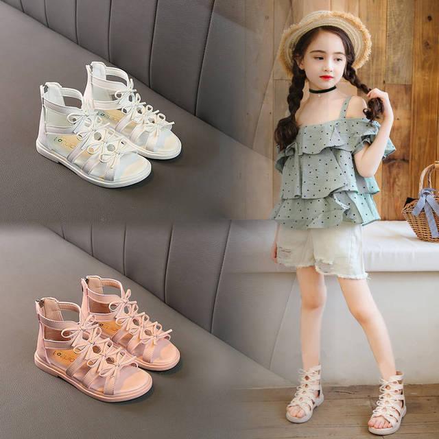 Children's sandals 2019 summer new girls fashion princess shoes little girl soft bottom female students Roman wind sandals