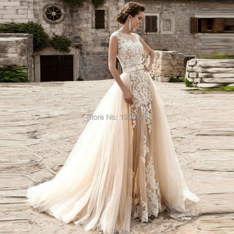 Elegant 2 Piece Wedding Dresses : New champagne detachable skirt wedding dress two piece
