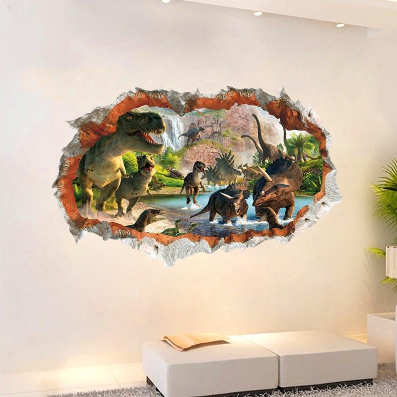 3d etkisi dinozor dünya duvar çıkartmaları çocuk odaları için - Ev Dekoru - Fotoğraf 3