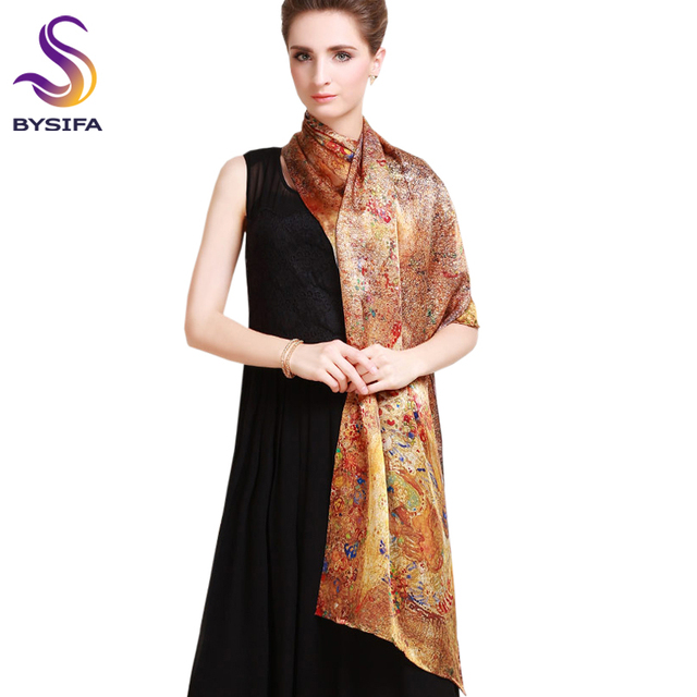 Pure Silk Scarf Shawl Female Long Design Autumn Winter Gold Brown Silk Cape Fashion 100% silk Digital Painting Silk Scarves