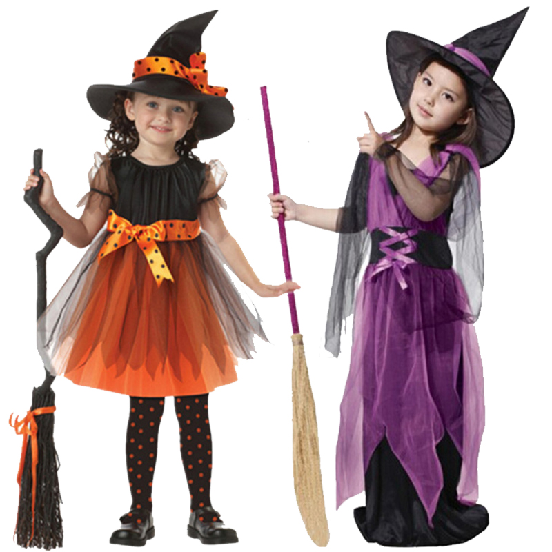 2-12 Girls Halloween Princess Costume Pumpkin Witch Cosplay Dress With Hat Children Clothes Baby Girls Party Dress Kids Clothing