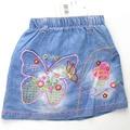 Бесплатная доставка! ребенок девочка детский летний бабочка и стрекоза вышивка джинсовая юбка (MH5350)