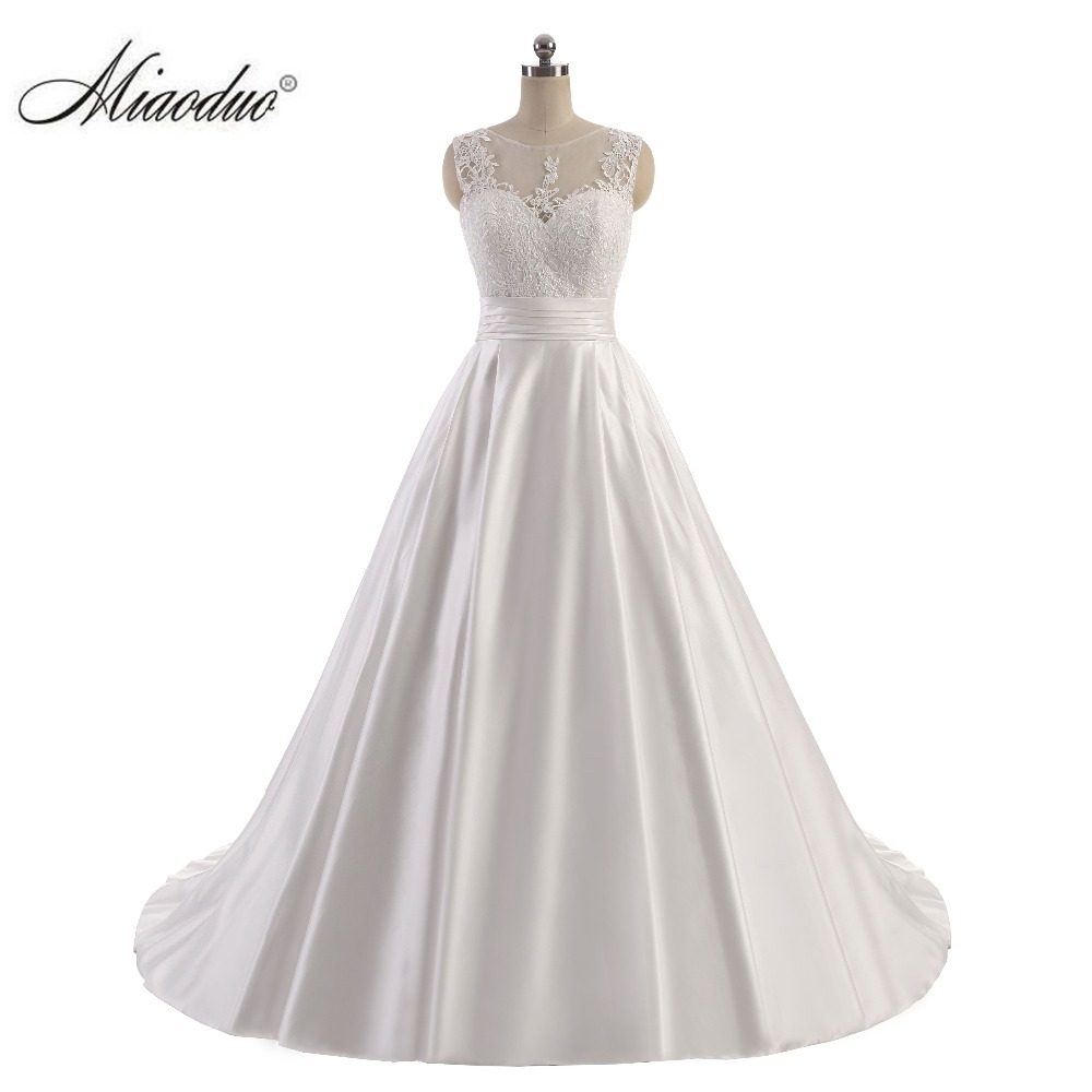 Miaoduo Ball Gown Satin Wedding Dresses Top Lace 2018