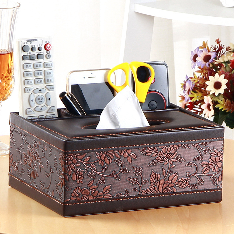 Hot Creative Square Household PU Leather Multi purpose Tissue Box Paper Tray Napkin Box Living Room Remote Control Storage Box in Storage Boxes Bins from Home Garden