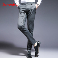 2019 Summer Men's New Casual Fashion Pants Business Casual Office Pants Men Pinstripe Stretch Pleated Slim Men's Suit Trousers