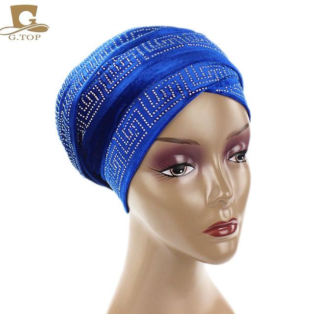 Luxury Velvet Mesh Nigerian Turban Long Head Scarf Headscarf Hijab Cap Earwarmer