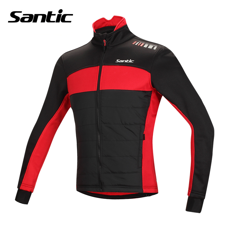 ФОТО Santic Winter Cycling Jersey Men Cotton Thermal Motocross Jersey Windproof Coats MTB Road Mountain Bike Jersey Bicycle Clothes