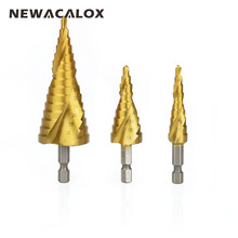 NEWACALOX Cut Tool Set High Speed Steel Hex Spiral Grooved Step Drill Drills Bit 4mm to 12mm/20mm/32mm
