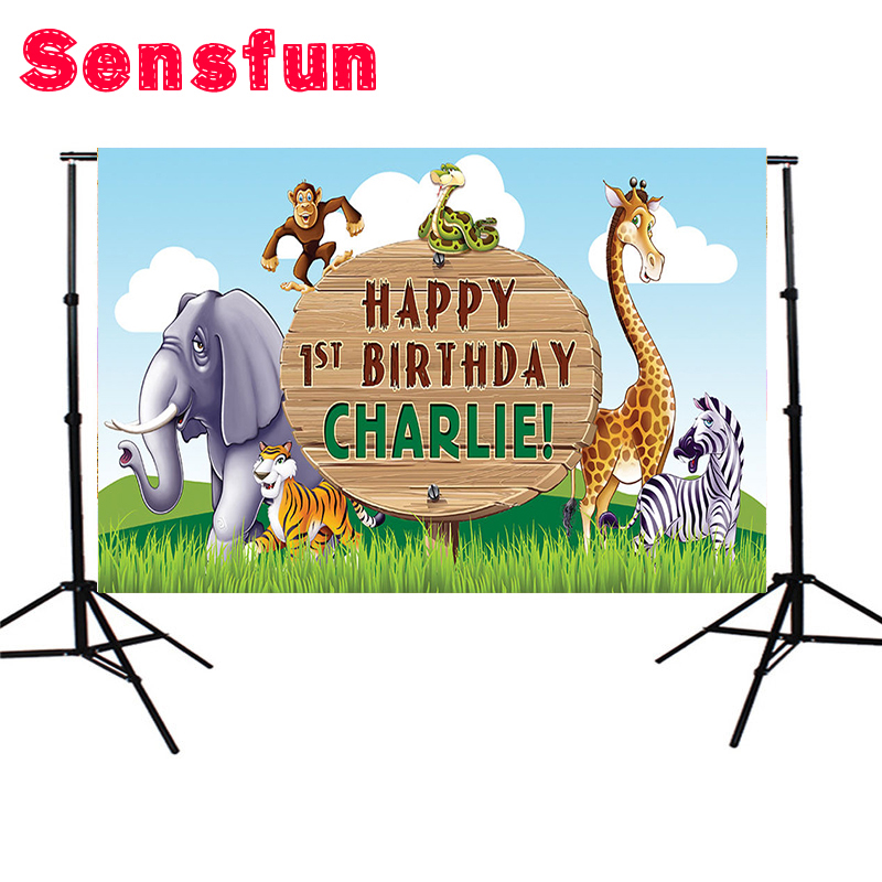 Vinyl Fabric Jungles Giraffe Zebra Animals Birthday Party Custom Photo Studio Backdrop Background 7x5ft sensfun where the wild things are dessert table backdrops custom photo studio backdrop background vinyl 7x5ft