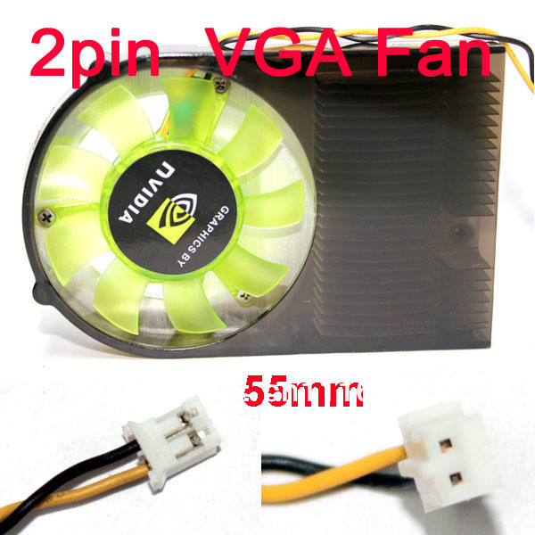 Aluminum 55mm Two Ball Bearing Fan For PC VGA Video Card Cooler Cooling copper plating video display card cooling fan for 55 60mm pitch golden translucent