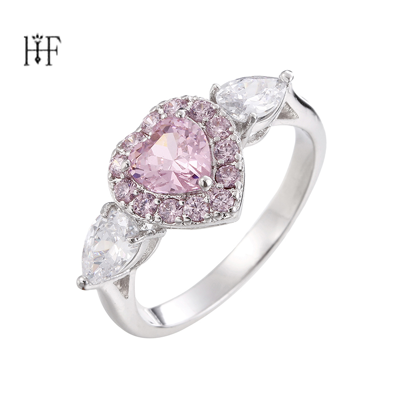 Bohemian Heart Ring Simple Wedding Couples Rings Bijouterie for Man or Woman Gift Pink Crystal jewellery Women Girls joyas