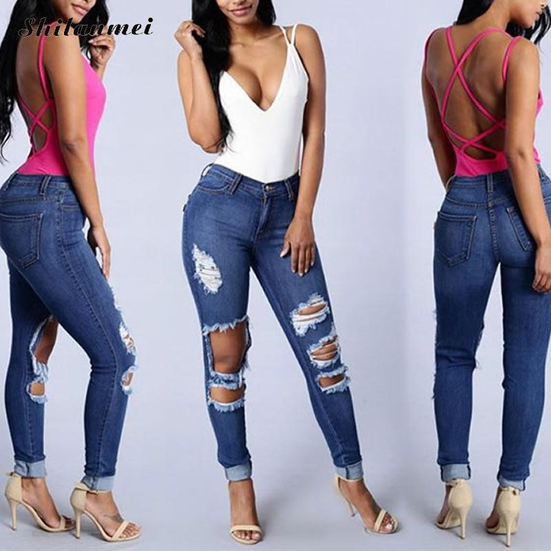Summer New Blue women jeans 2017 Blue Ripped Jeans Pencil Pants Embroidered Flares hollow out washed jeans pants female XXL Slim