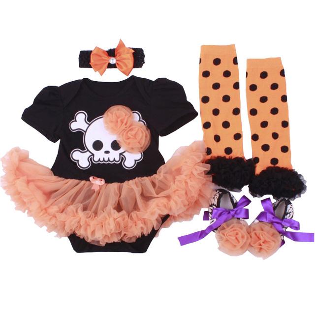 Halloween trajes tutu crânio head bebê tutu romper cabeça sapatos meias 4 pcs conjunto de roupas de bebe menina halloween trajes tutu