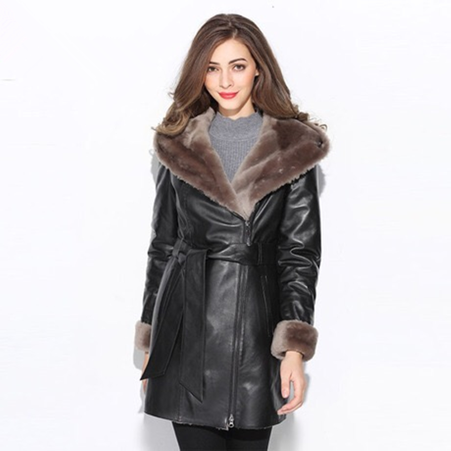 Double Face Fur Integrated Real Fur Australian Sheepskin Parka Fur Coat Real  Natural Fur Coat Women 41