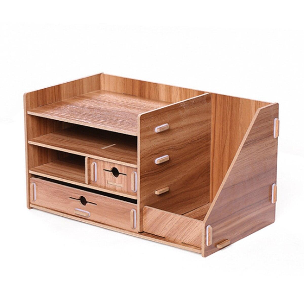 Boîte de rangement en bois bricolage avec tiroir cosmétiques organisateur bureau à domicile bureau tiroir maquillage organisateur nouveau - 2