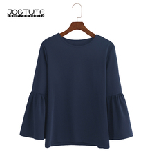 JOGTUME 2017 Fashion Autumn T Shirt Women O-Neck Lantern Sleeve Casual T-Shirt High Quality Femme Co