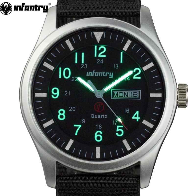 INFANTRY Men Watches Luminous Military Army Analog Date Day Sport Watch Nylon Strap Male Clock Quartz Watch Relogio Masculino mens watch army sport analog day date quartz calendar pilot stylish male chronograph aviator relogio masculino