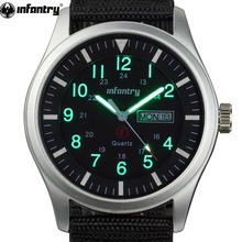 INFANTRY Herre ure Luminous Military Army Analog Date Day Sport Watch Nylon Strap Mand Ur Quartz Watch Relogio Masculino