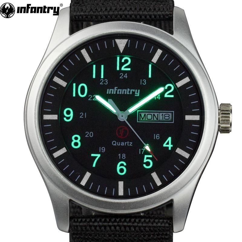 INFANTRY Mężczyźni Zegarki Luminous Wojskowe Armii Analogowe Data - Męskie zegarki - Zdjęcie 1