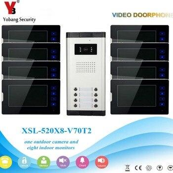 Yobang Güvenlik 8 Adet Daire 7'Inch Monitör Video Kapı Zili Kapı Telefonu Görsel Hoparlör Interkom Kamera Güvenlik Sistemi