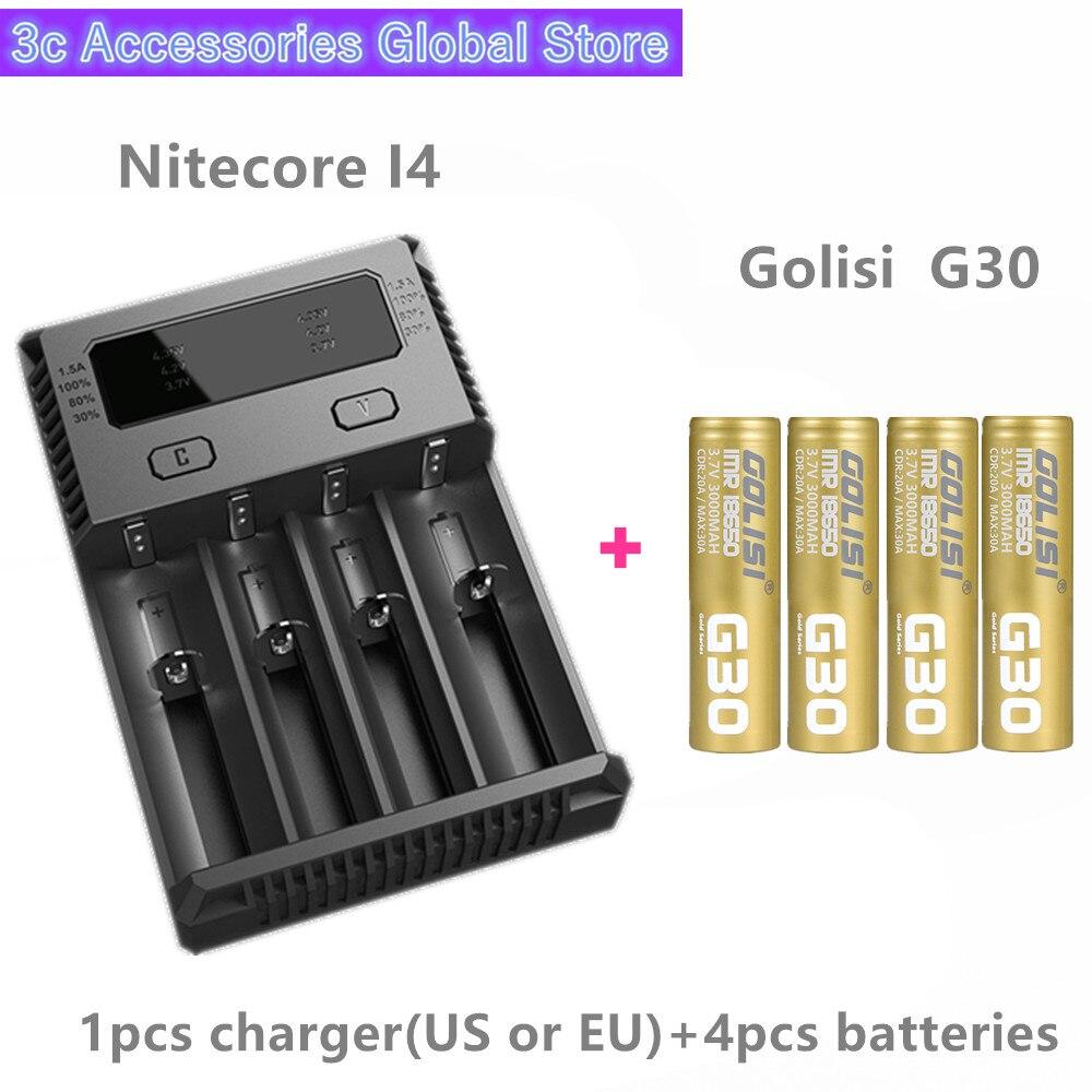 Golisi 4 pièces G30 IMR 18650 3000 mah MAX 30A E-CIG batterie rechargeable pour VAPORISATEUR avec Nitecore Nouveau I4 Digi chargeur LCD Intelligent
