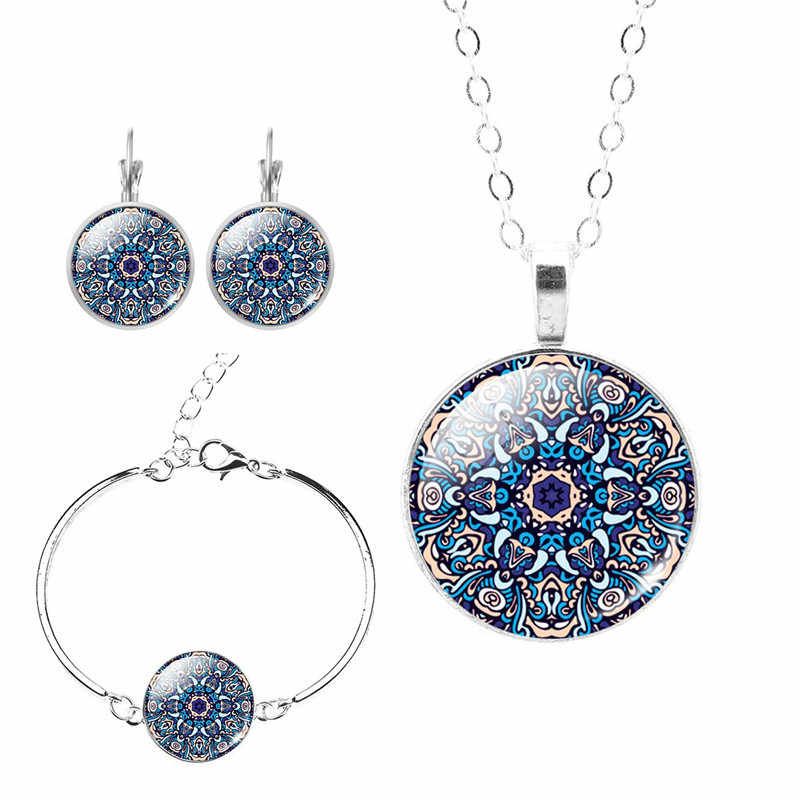 2017 New Mandala OM Hinduism Jewelry Set Set Silver Chain Glass Cabochon Earrings Bracelets Necklace Women