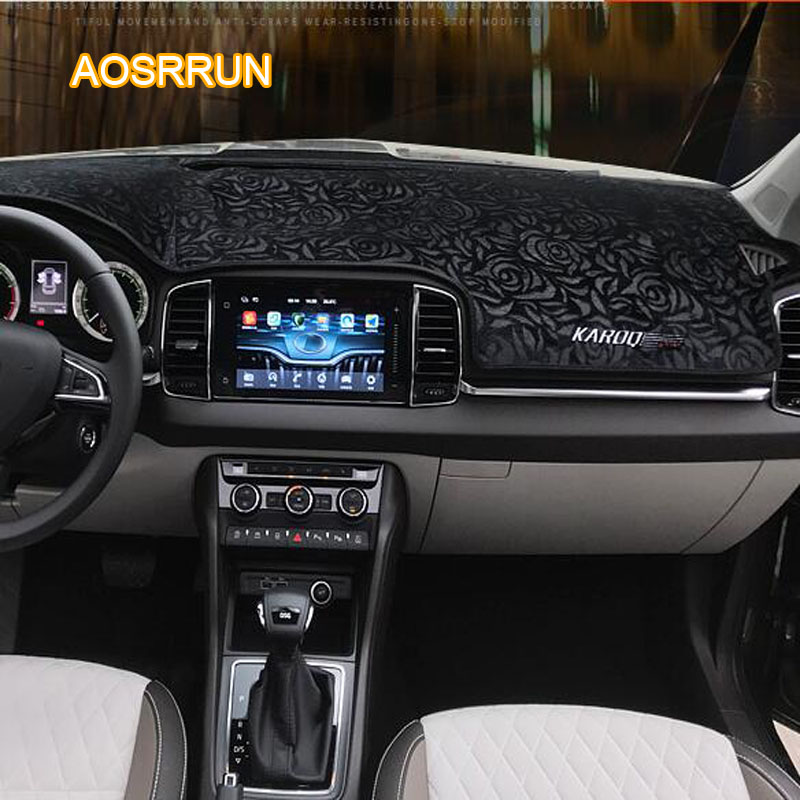 AOSRRUN The dashboard mat is shielded from the pad by the pad Car accessories cover For Skoda Karoq